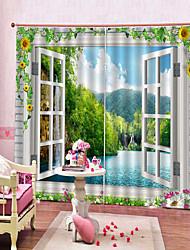Недорогие -скандинавское оконное стекло с принтом в 3d стиле многофункциональные шторы спальня и кабинет две панели полиэфирные шторы