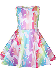 cheap -Kids Toddler Girls' Active Street chic Unicorn Cartoon Sleeveless Above Knee Dress Rainbow