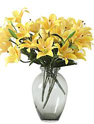 abordables -Fleurs artificielles 1 Une succursale Classique Mariage Européen Lis Fleur de Table