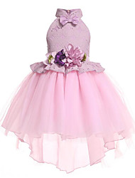 cheap -Princess Asymmetrical Flower Girl Dress - Polyester / Tulle Sleeveless Halter Neck with Appliques / Bow(s) / Tier by LAN TING Express