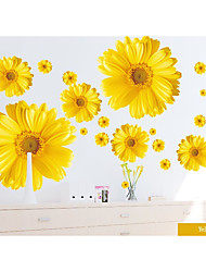 cheap -Set of 9 Yellow Chrysanthemums Daisy Flowers Wall Sticker Decal Home Decor for Living Bed Room Study TV Wall