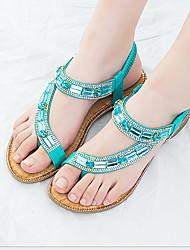 cheap -Women's Sandals Flat Heel Round Toe Rhinestone / Sparkling Glitter PU Summer Black / Almond / White
