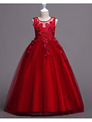 cheap -A-Line Floor Length Flower Girl Dress - Polyester / Tulle Sleeveless Jewel Neck with Appliques
