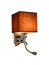 cheap -Fabric Wall Lamp Chrome Finished Bedroom Night Light Reading Light Spot Light Cube Shade Led Adjustable Sconces 3 Lights for Balcony Living Room