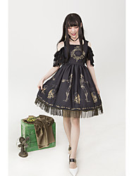 cheap -Stylish Gothic Lolita Gothic Dress Female Japanese Cosplay Costumes White / Black / Green Pattern Skull Lace Sleeveless Sleeveless Midi