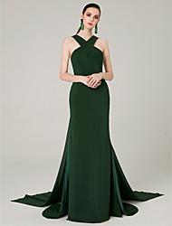 cheap -Mermaid / Trumpet Halter Neck Sweep / Brush Train Chiffon Elegant Formal Evening Dress 2020 with Split Front / Criss Cross