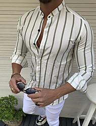 cheap -Men's Striped Shirt Basic Daily Round Neck Red / Yellow / Blushing Pink / Green / Light Blue / Long Sleeve