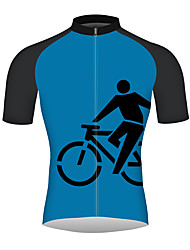 cheap -21Grams Men's Short Sleeve Cycling Jersey Bule / Black Bike Jersey Top Mountain Bike MTB Road Bike Cycling Breathable Quick Dry Reflective Strips Sports 100% Polyester Clothing Apparel / Triathlon