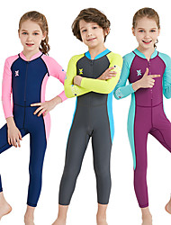 cheap -Dive&Sail Girls' Rash Guard Dive Skin Suit Spandex Diving Suit UV Sun Protection Breathable Quick Dry Full Body Front Zip - Swimming Diving Watersports Patchwork Spring, Fall, Winter, Summer / Kid's