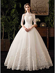 cheap -Ball Gown High Neck Maxi / Floor Length Tulle Half Sleeve Made-To-Measure Wedding Dresses with Appliques 2020