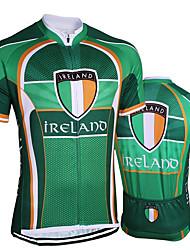 abordables -21Grams Irlande Drapeau National Homme Manches Courtes Maillot Velo Cyclisme - Vert Vélo Maillot Hauts / Top Respirable Evacuation de l'humidité Séchage rapide Des sports Térylène VTT Vélo tout