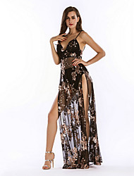 cheap -Diva Disco 1980s Dress Women's Sequins Costume Black / Pink / Beige Vintage Cosplay Prom Sleeveless Floor Length Sheath / Column