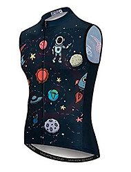 cheap -21Grams Cartoon Astronaut Men's Sleeveless Cycling Jersey - Black Bike Jersey Top Breathable Moisture Wicking Quick Dry Sports Polyester Elastane Terylene Mountain Bike MTB Road Bike Cycling Clothing