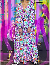 cheap -Women's Maxi A Line Dress - Geometric Deep V Blue Red Green S M L XL