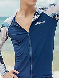 cheap -LCDRMSY Men's Rash Guard Sun Shirt Swim Shirt Thermal / Warm UV Sun Protection Quick Dry Long Sleeve Front Zip - Swimming Water Sports Patchwork Summer / High Elasticity
