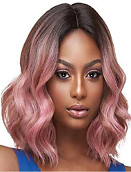 cheap -Synthetic Wig Body Wave With Bangs Wig Pink Short Medium Length Black / Rose Synthetic Hair 13 inch Women's Color Gradient Pink