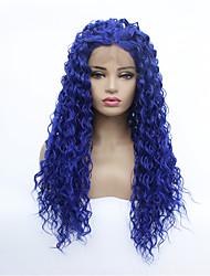 Недорогие -Синтетические кружевные передние парики Волнистые Средняя часть Лента спереди Парик Средняя длина Тёмно-синий Искусственные волосы 8-26 дюймовый Жен. синтетический Синий