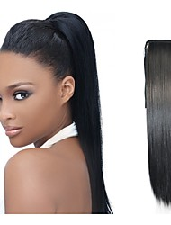 cheap -Hair weave Ponytails Women Human Hair Hair Piece Hair Extension Straight 20 inch Daily Wear / Black