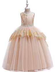 cheap -Princess Floor Length Wedding / Party / Pageant Flower Girl Dresses - Cotton / Lace / Satin Sleeveless Jewel Neck with Belt / Crystals / Beading