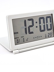 cheap -Multifunction Silent LCD Digital Large Screen Travel Desk Electronic Alarm Clock, Date/Time/Calendar/Temperature Display, Snooze, Folding (White+Silver)