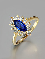 cheap -Women's Ring Engagement Ring 1pc Red Blue Rhinestone Gold Plated Glass Oval Unique Design Fashion Daily Work Jewelry Classic Flower Cute Cool Lovely / Alloy