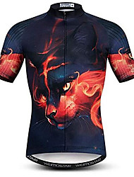 cheap -21Grams 3D Cat Animal Men's Short Sleeve Cycling Jersey - Black / Red Bike Jersey Top Breathable Moisture Wicking Quick Dry Sports Polyester Elastane Terylene Mountain Bike MTB Road Bike Cycling