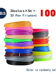 Недорогие -myriwell abs 1.75 мм нить 20 цветов 5 м случайный цвет выбран 3d напечатаны pcl 1.75 мм 3d ручка пластиковая 3d принтер нить накаливания 3d ручки abs экологическая безопасность