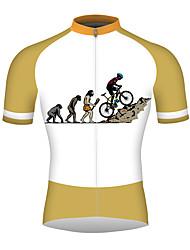 Недорогие -21Grams эволюция Муж. С короткими рукавами Велокофты - Оранжевый + белый Велоспорт Джерси Верхняя часть Дышащий Быстровысыхающий Со светоотражающими полосками Виды спорта 100% полиэстер / троеборье