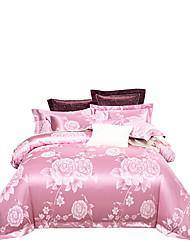 Недорогие -светло-розовый блестящий принцесса 250т люкс премиум отель жаккард из чистого хлопка сантен шелк из четырех частей постельного белья
