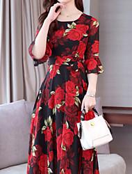 cheap -Women's Boho Slim A Line Dress - Floral Print Yellow Red M L XL XXL