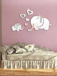 cheap -Cute 3D Heart-shaped Elephant Wall Decor Mirror Sticker DIY Removable Baby Kids Room Mural Decals