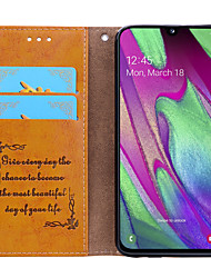 cheap -Case For Samsung Galaxy Samsung Galaxy A40(2019) Card Holder / Flip Full Body Cases Solid Colored Hard PU Leather for Samsung Galaxy A40(2019)