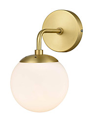 cheap -Spherical Wall Lamp White Glass Wall Sconces Bedroom Reading Light Wall Light Fixtures Washroom Wall Lighting Metal