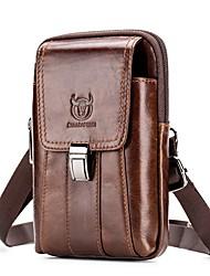 cheap -(BULLCAPTAIN) Men'S Mobile Phone Small Pockets Multi-Function Suede Leather Vertical Belt Belt Bag