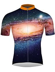 Недорогие -21Grams Галактика Звезды Муж. С короткими рукавами Велокофты - Оранжевый Велоспорт Джерси Верхняя часть Дышащий Быстровысыхающий Влагоотводящие Виды спорта 100% полиэстер / Слабоэластичная
