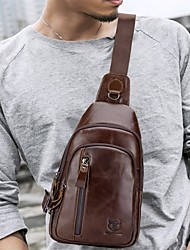 cheap -(BULLCAPTAIN) Men's Leather One Shoulder Crossbody Bust Top Layer Leather Fashion Multifunction Sports Leisure Chest Bag