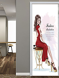 cheap -Fashion Beauty Door Stickers Decorative Waterproof Door Decal