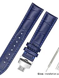 Недорогие -Настоящая кожа / Кожа / Шерсть теленка Ремешок для часов Черный / Белый / Синий Прочее / 17см / 6,69 дюйма / 19cm / 7.48 дюймы 1.2cm / 0.47 дюймы / 1.3cm / 0.5 дюймы / 1.4cm / 0.55 дюймы