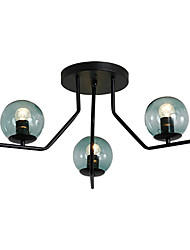 cheap -3-Light Sputnik Flush Mount Lights Ambient Light Painted Finishes Metal Ceiling Lamp 3 Lights Chandelier Globe Glass Shade Simple Pendant Lighting Black