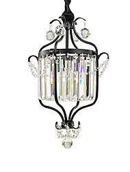 cheap -Vintage Metal/Crystal Chandelier Antique Iron Art Round Chandelier with Hanging Crystal Prism Ceiling Light Fixture Hanging Height Adjustable Black