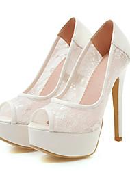 cheap -Women's Heels Stiletto Heel Peep Toe PU(Polyurethane) Classic / British Spring & Summer / Fall & Winter White / Black / Pink / Wedding / Party & Evening