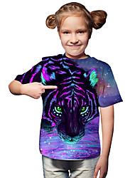 cheap -Kids Toddler Girls' Active Basic Tiger Geometric Print 3D Print Short Sleeve Tee Purple / Animal