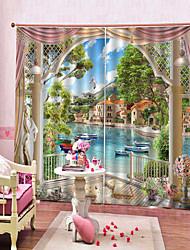 Недорогие -европейский штамп на берегу озера у окна высокой четкости 3d печать водонепроницаемые ирисовые и против морщин шторы на заказ спальня гостиная шторы