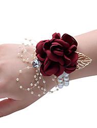 abordables -Yiwu pho_0afx mariée demoiselles d'honneur soeurs groupe poignet fleur corsage fête de bal soirée poudre de champagne