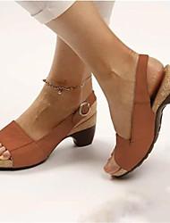 cheap -Women's Sandals Cuban Heel Open Toe PU(Polyurethane) Casual Summer Brown / Red / Blue