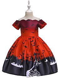 cheap -Kids Toddler Girls' Vintage Basic Animal Print Short Sleeve Above Knee Dress Red