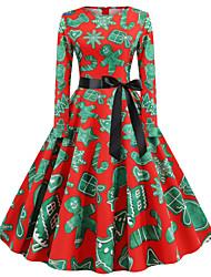 cheap -Women's A-Line Dress Knee Length Dress Long Sleeve Print Print Fall Winter Casual Christmas Halloween 2021 Blue Red Yellow Green Royal Blue S M L XL XXL 3XL 4XL 5XL