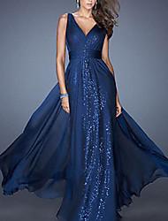 cheap -Women's Cocktail Party Prom Elegant Maxi A Line Dress - Polka Dot Lace Deep V Blue Red Beige S M L XL