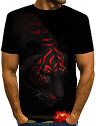 cheap -Men's Street Club Street chic / Exaggerated EU / US Size T-shirt - Color Block / 3D / Animal Print Round Neck Black / Short Sleeve