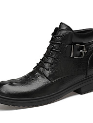 cheap -Men's Leather Shoes Nappa Leather Fall / Fall & Winter Casual / British Boots Non-slipping Booties / Ankle Boots Black